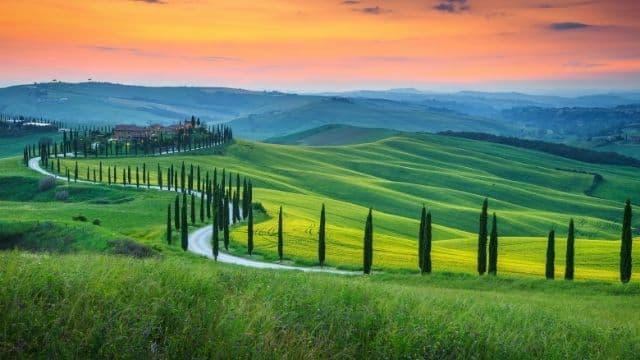 Puesta de sol en la Toscana